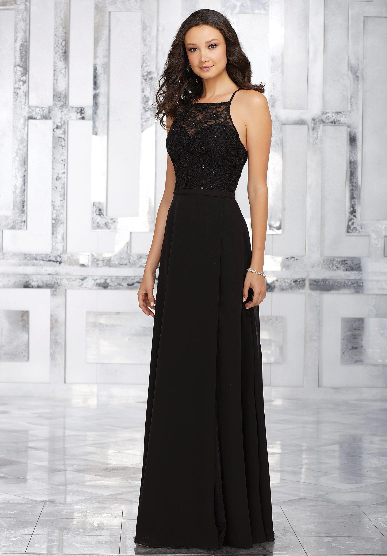 MORI LEE Mori Lee 146 Lace And Chiffon Long Dress Charcoal Grey ...