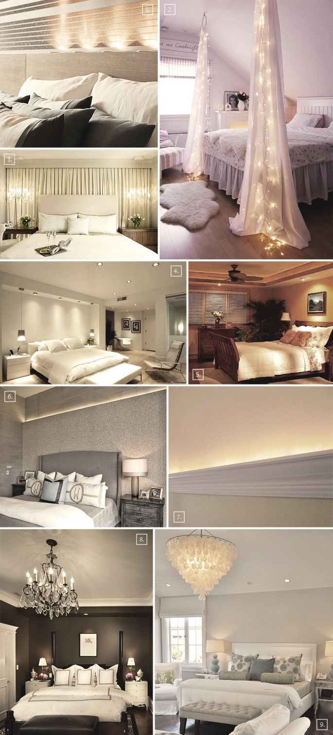 Master bedroom lighting  Bedroom Lighting Ideas  lights and material at end of bed  love it