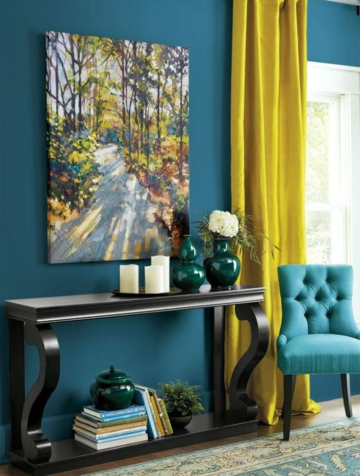 1001 id es cr er une d co en bleu et jaune conviviale deco and home living room decor - Chambre jaune et bleu ...