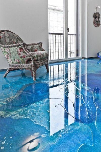 Resin Liquid Flooring Satin Finish Marble Look High Resistance Dega 174 Art