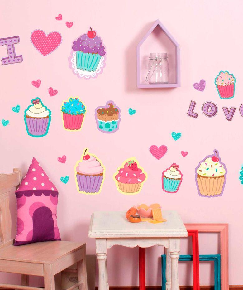 Cupcakes vinilo adhesivo decoraci n de paredes for Stickers para decorar paredes