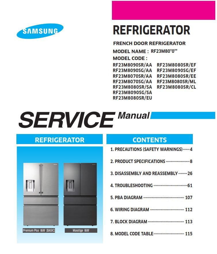 Samsung Rf23m8090sr Rf23m8090sg Rf23m8070sr Rf23m8070sg Rf23m8080sr Service Manual Samsung Refrigerator French Door Refrigerator Models Disassembly