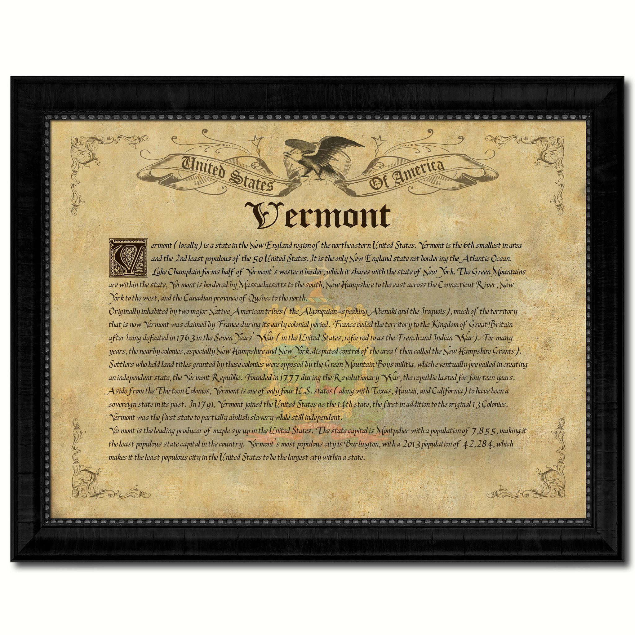 Vermont Vintage History Flag Canvas Print, Picture Frame Gift Ideas ...
