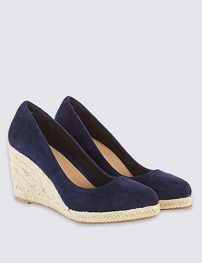 Leather Wedge Heel Almond Toe