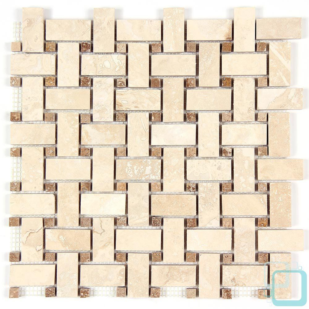 Light Travertine And Noce Travertine Dot Basketweave Mosaic