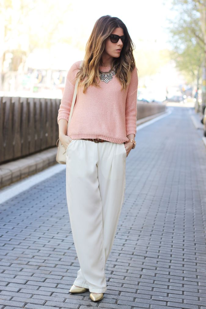 Pink knit   off white loose pants | style | Pinterest
