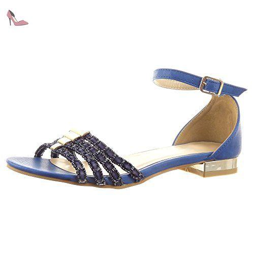 Sandale Sopily Cheville Femmes Hauteur Mode Finition Chaussure qP0x6PE