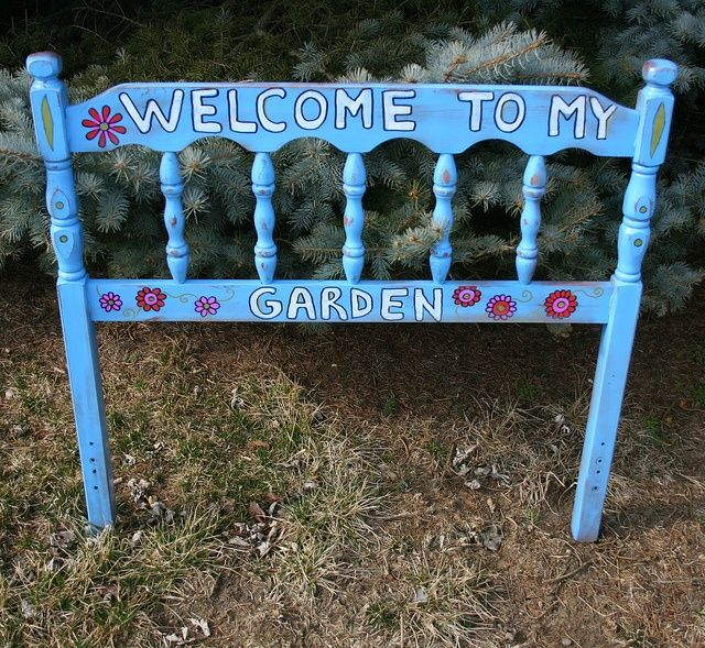 Recycled Headboard GARDEN SIGN by Rick Cheadle Art and Designs