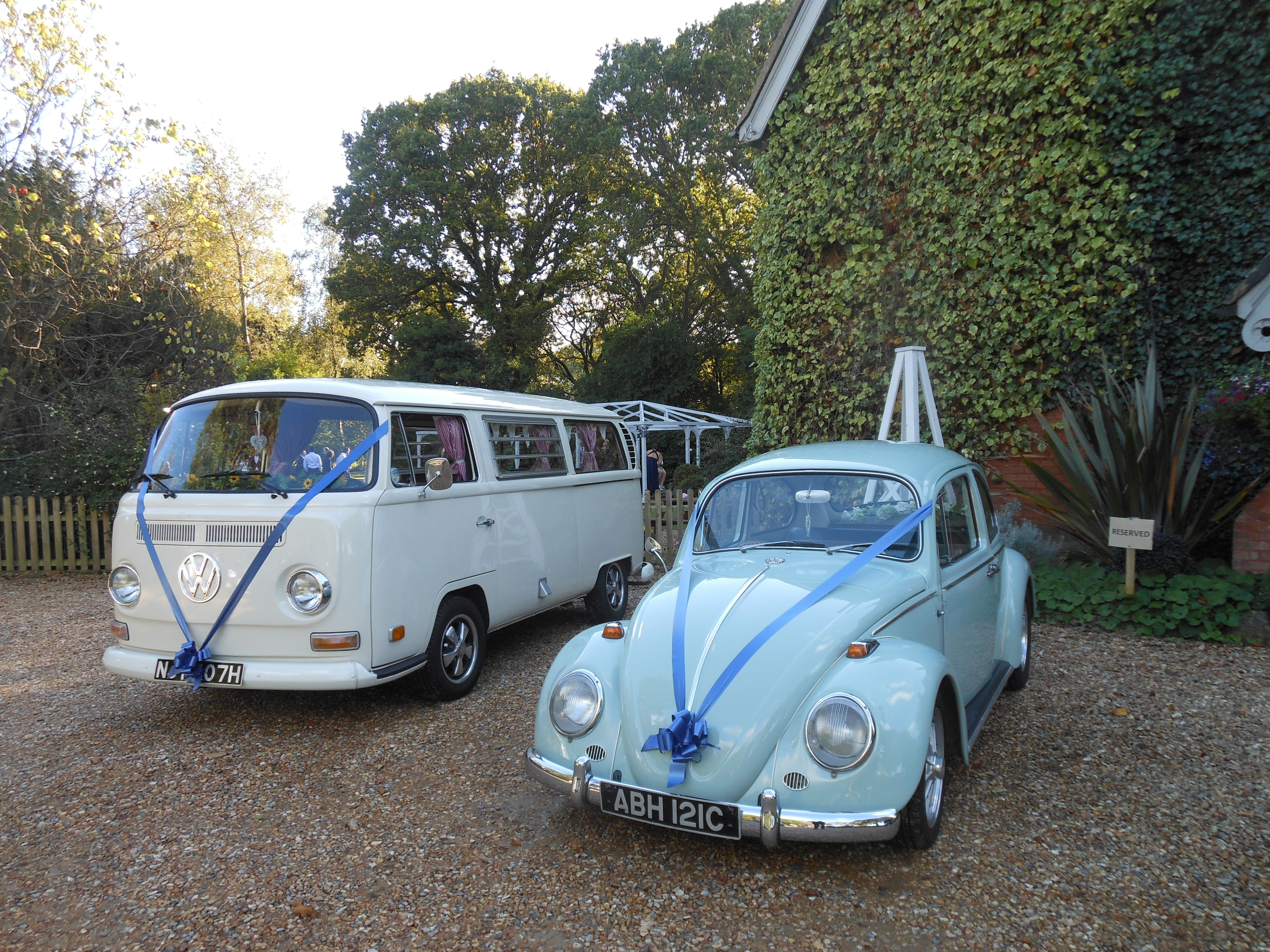 Classic VW camper and VW Beetle wedding cars with co-ordinating ...