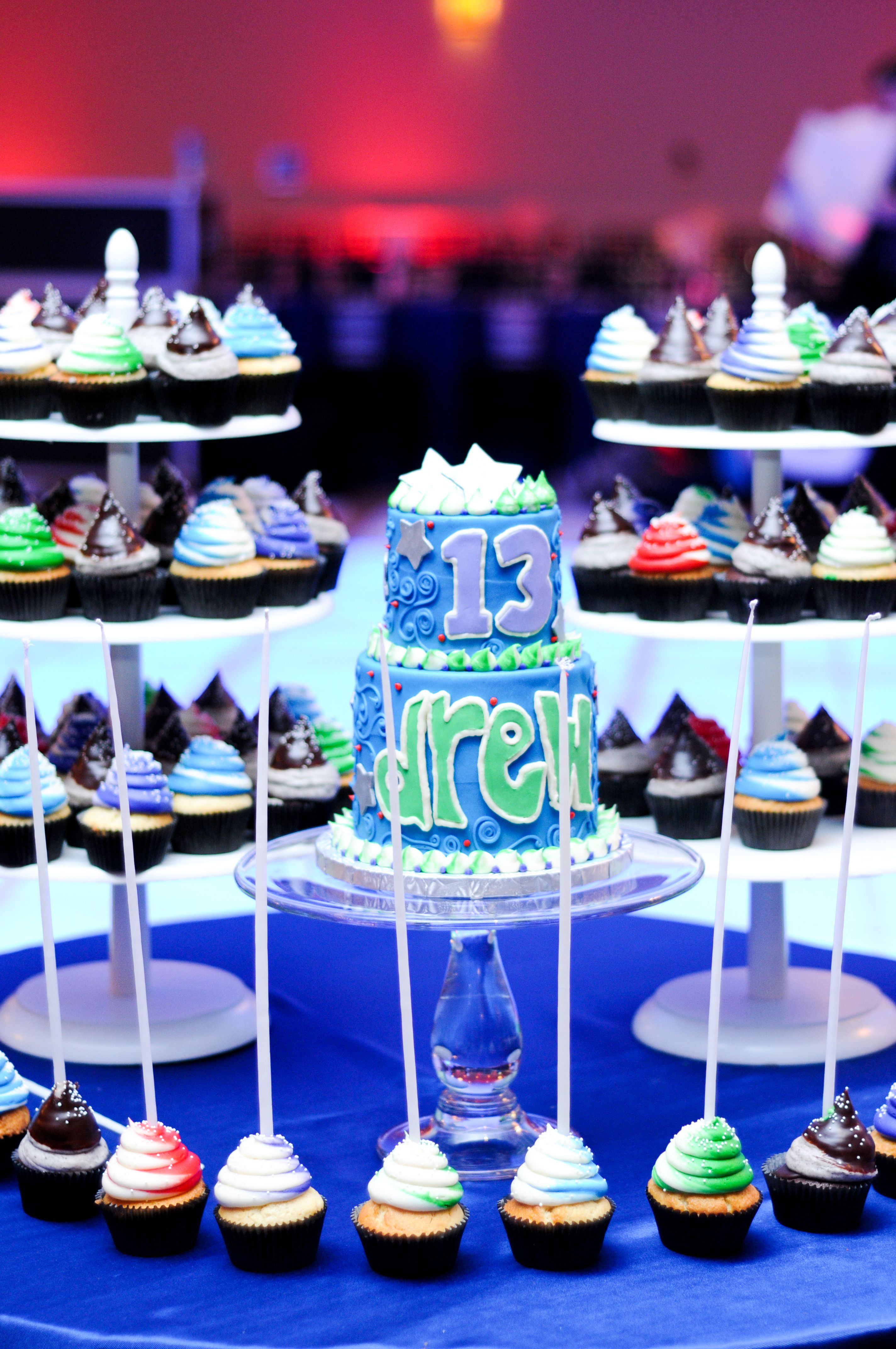 Bar mitzvah decor south florida mitzvah production by 84 west events - Bar Mitzvah Cake By Eat Cake And Candle Lighting With Cupcakes David S Catering