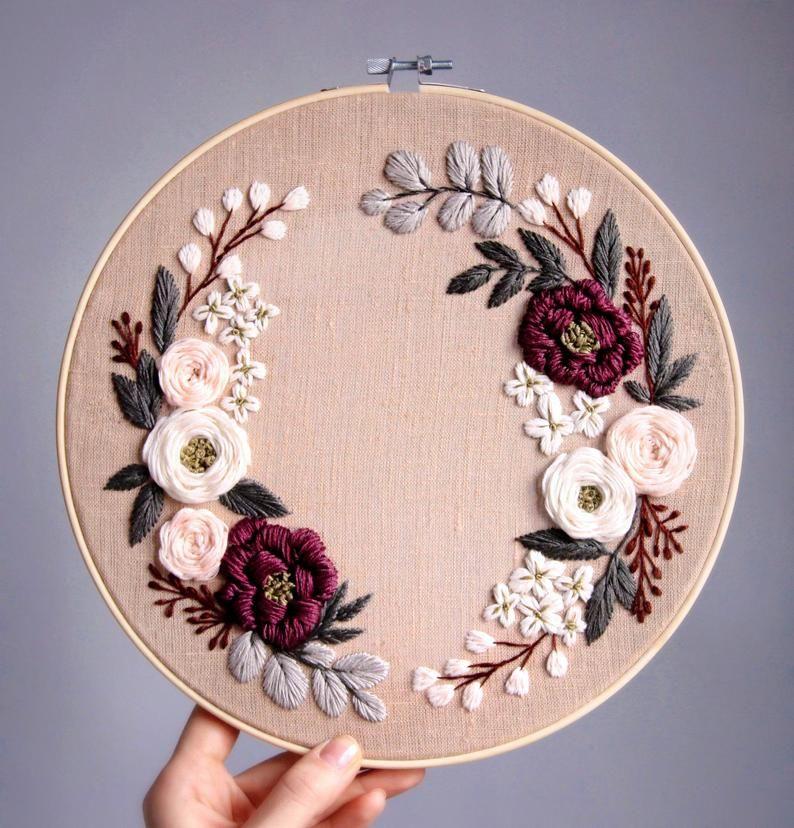Pdf pattern+ video tutorial. Spring honey floral wreath/ digital tutorial floral diy  hand embroider – Sticken