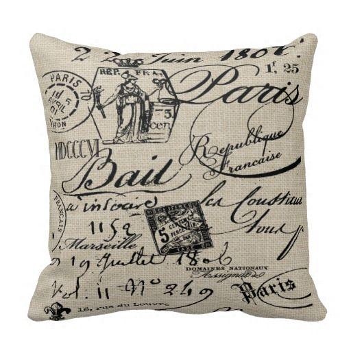 French Script Pillow Zazzle Com Script Pillows Pillows Paris