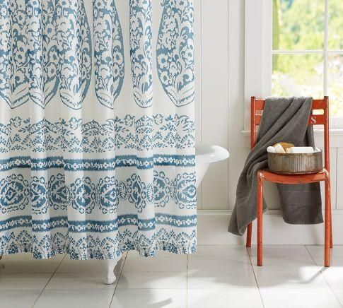 Bath Lori Paisley Shower Curtain Pottery Barn Blue And White