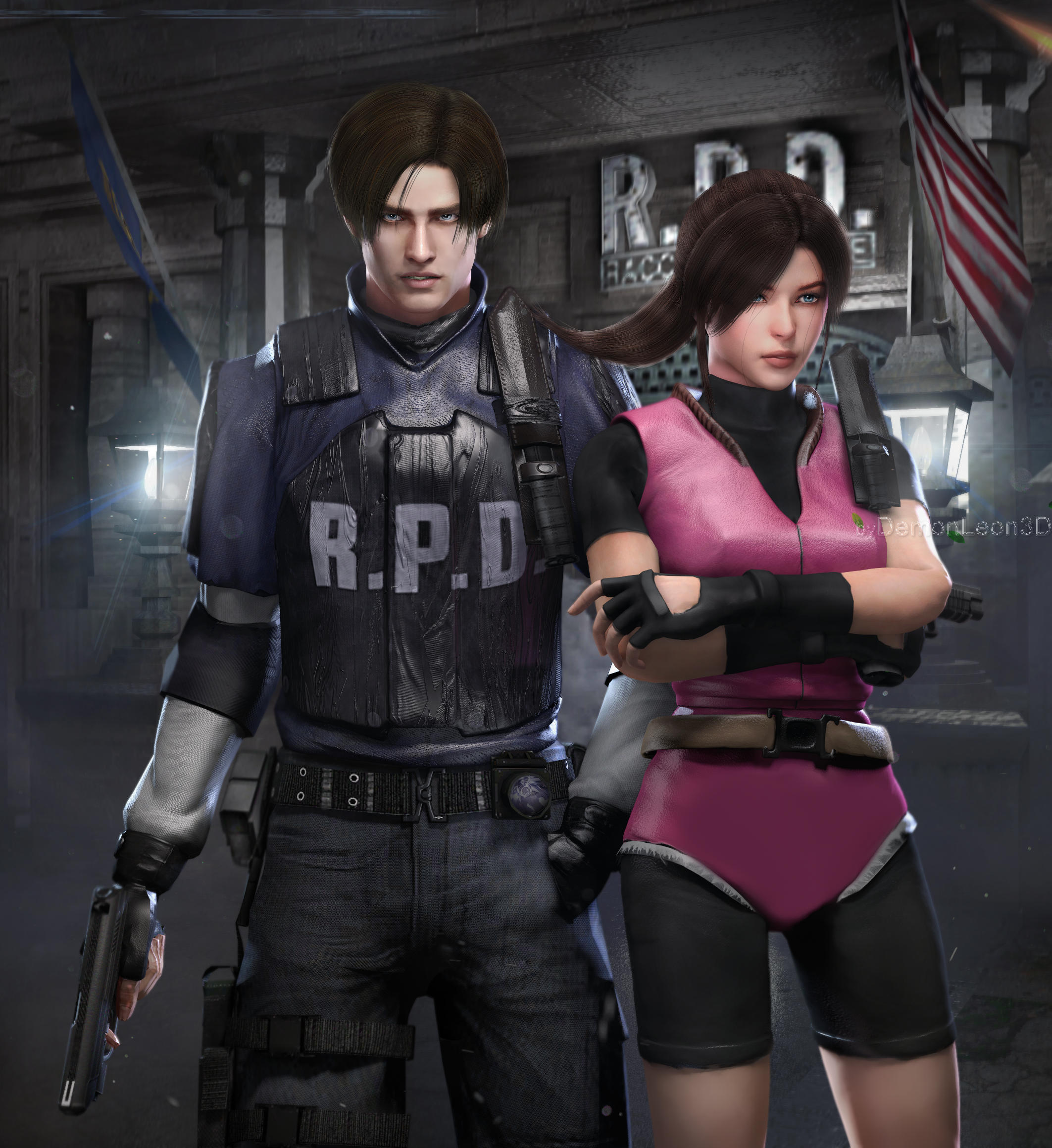 Leon X Claire Re2 Hd Remake Resident Evil Leon Resident Evil