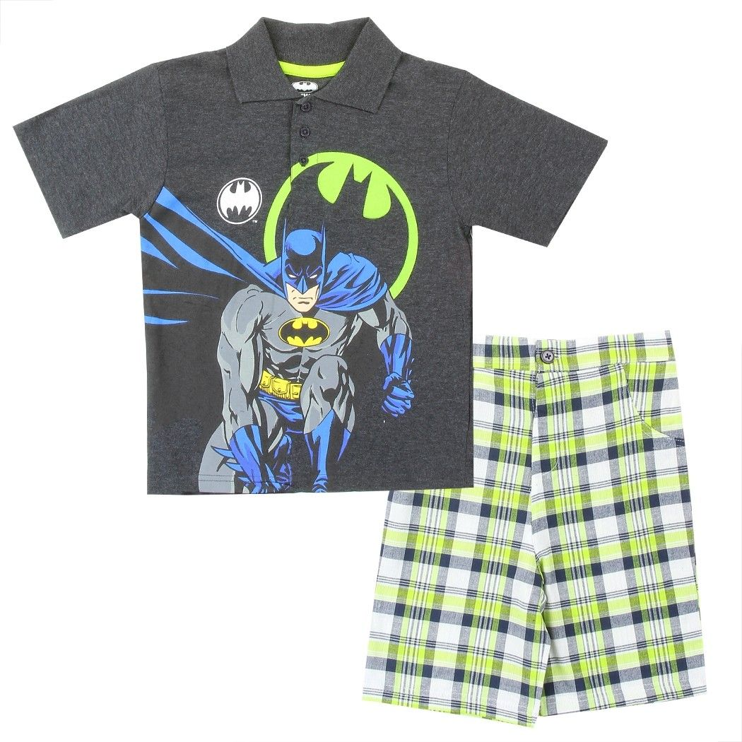 Warner Brothers Little Boys 2 Piece Batman Tee and Plaid Short Set
