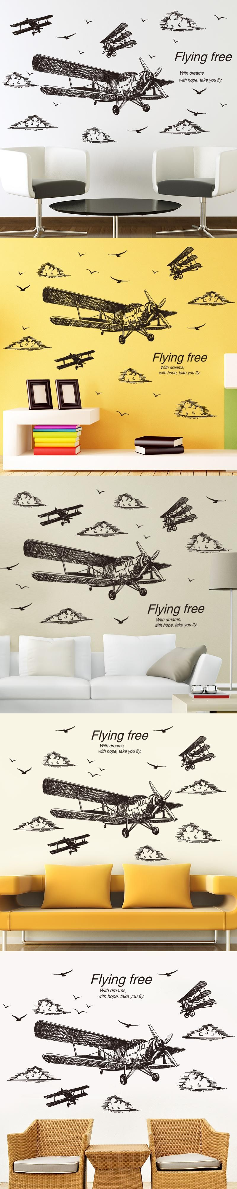 SHIJUEHEZI] Freehand Sketching Airplane 3D Wall Stickers Vinyl ...