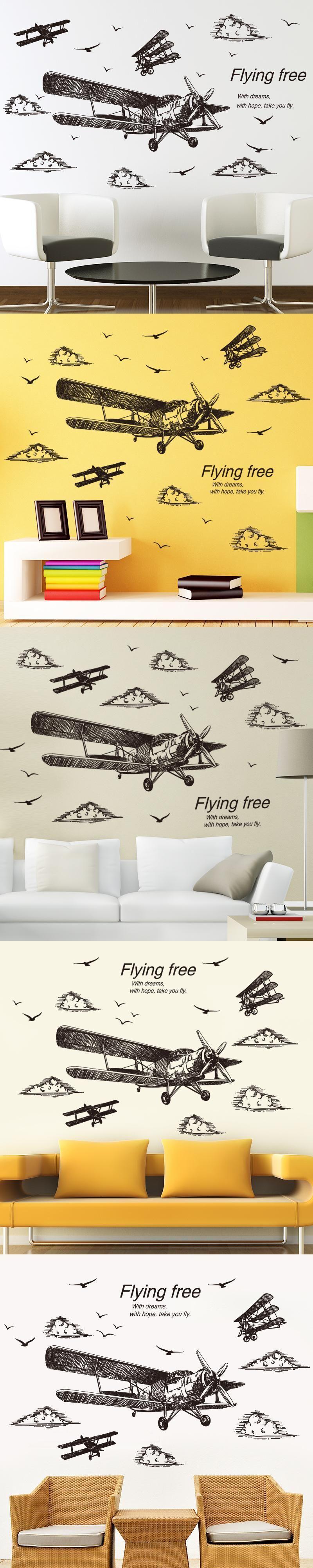 SHIJUEHEZI] Freehand Sketching Airplane 3D Wall Stickers Vinyl ...