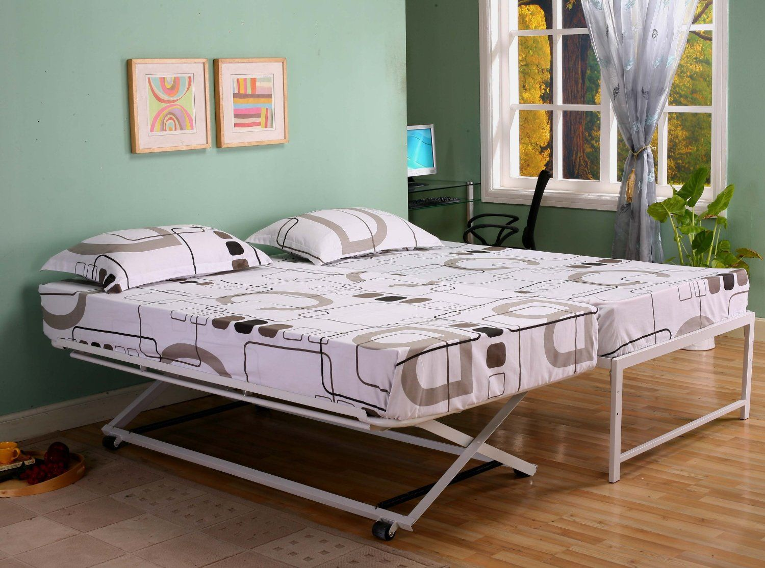 Amazon Com Twin Size Steel Day Bed Daybed Frame With Pop Up