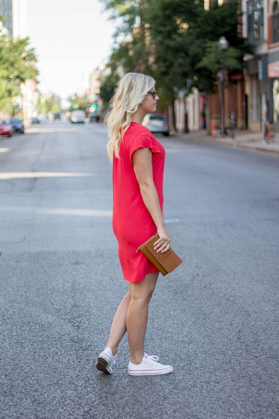 Red Dress Sneakers Blonde And Bailey Dress With Sneakers Red Dress Outfit Dress With Converse [ 1619 x 1080 Pixel ]