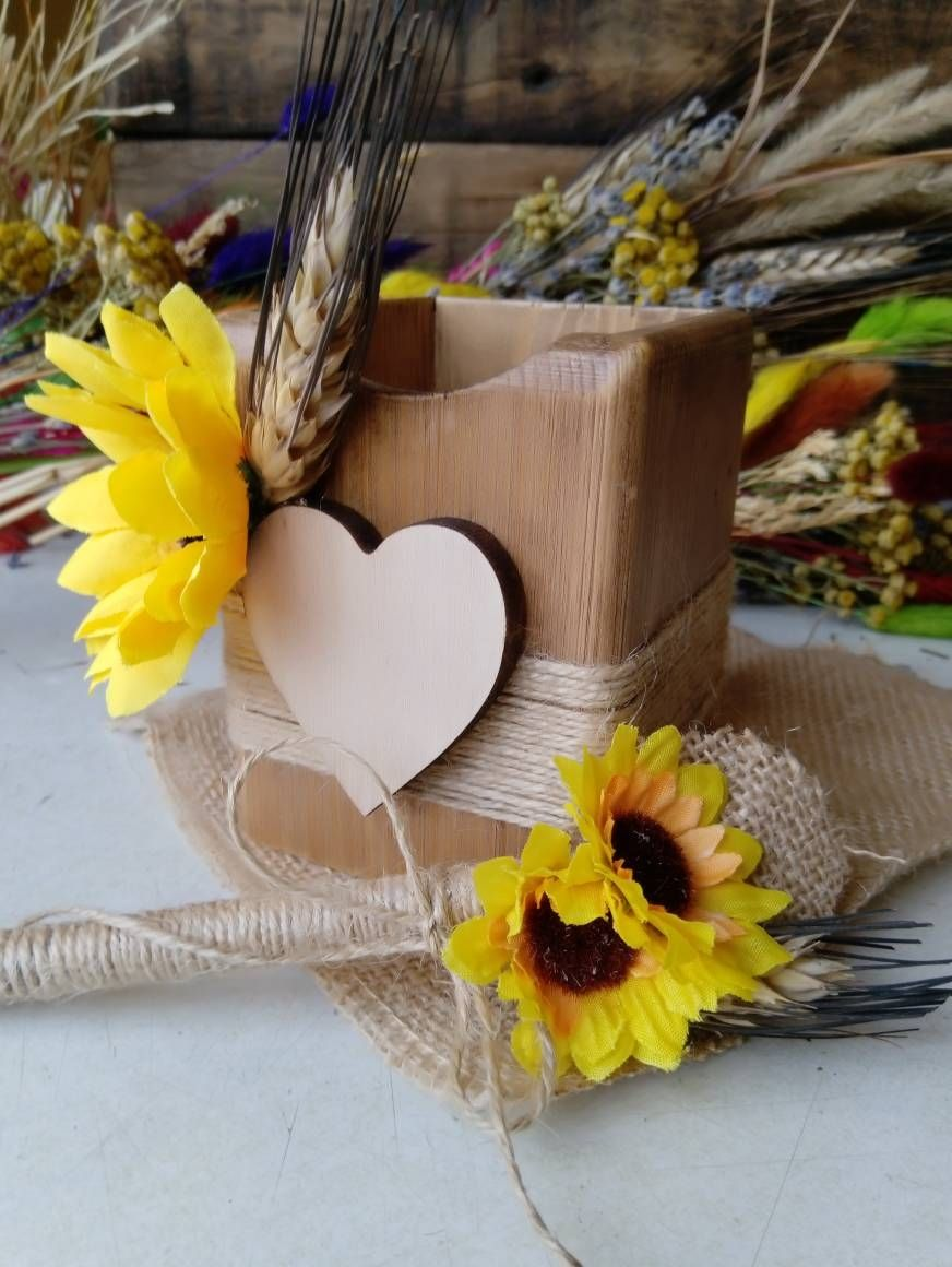 Rustic Sunflower Guestbook pen with pen holder Rustic