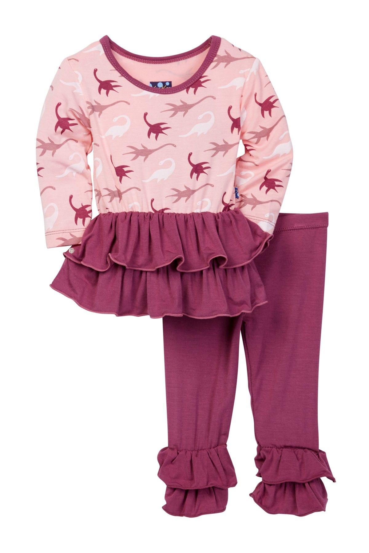 Kickee Pants Little Girls Double Ruffle Outfit Set