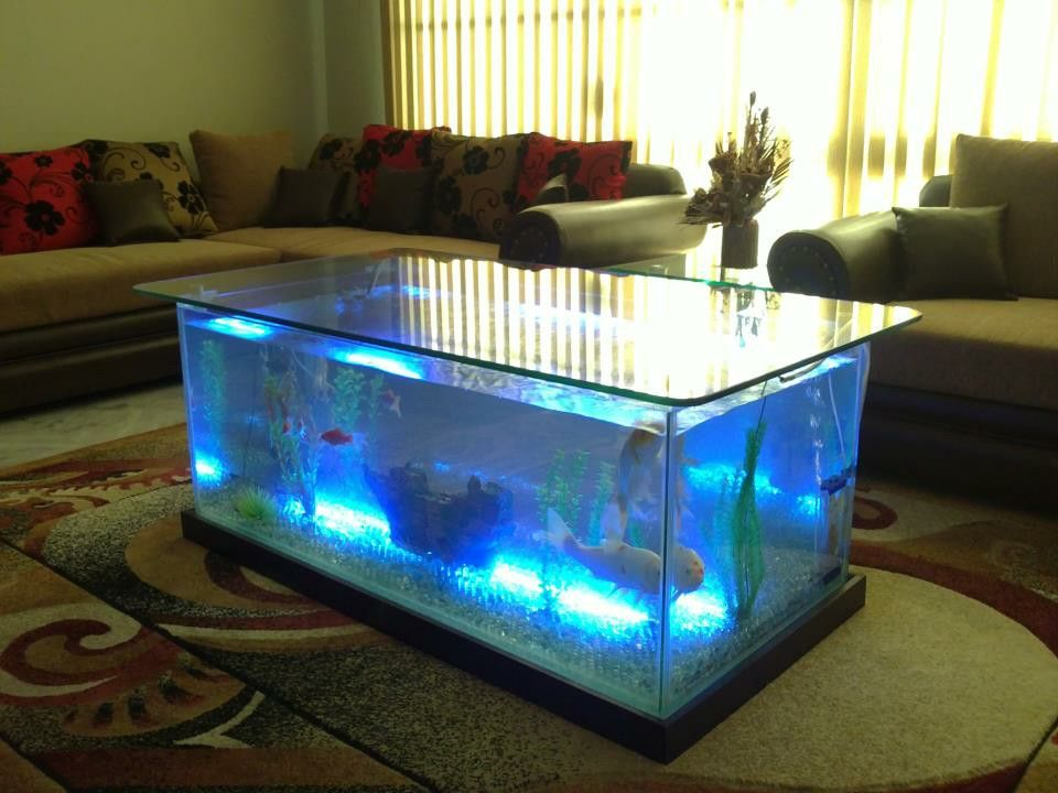 awesome Fish Tank Living Room Table Part - 15: Living room with aquarium sofa table ☜