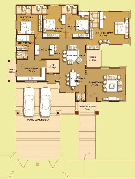 Image Result For Malaysia Single Storey Bungalow Award Winning Floor Plan Bungalow Floor Plans House Floor Plans Floor Plans