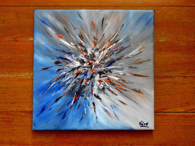 Original Tableau Abstrait A L Acrylique Scintillation En Bleu