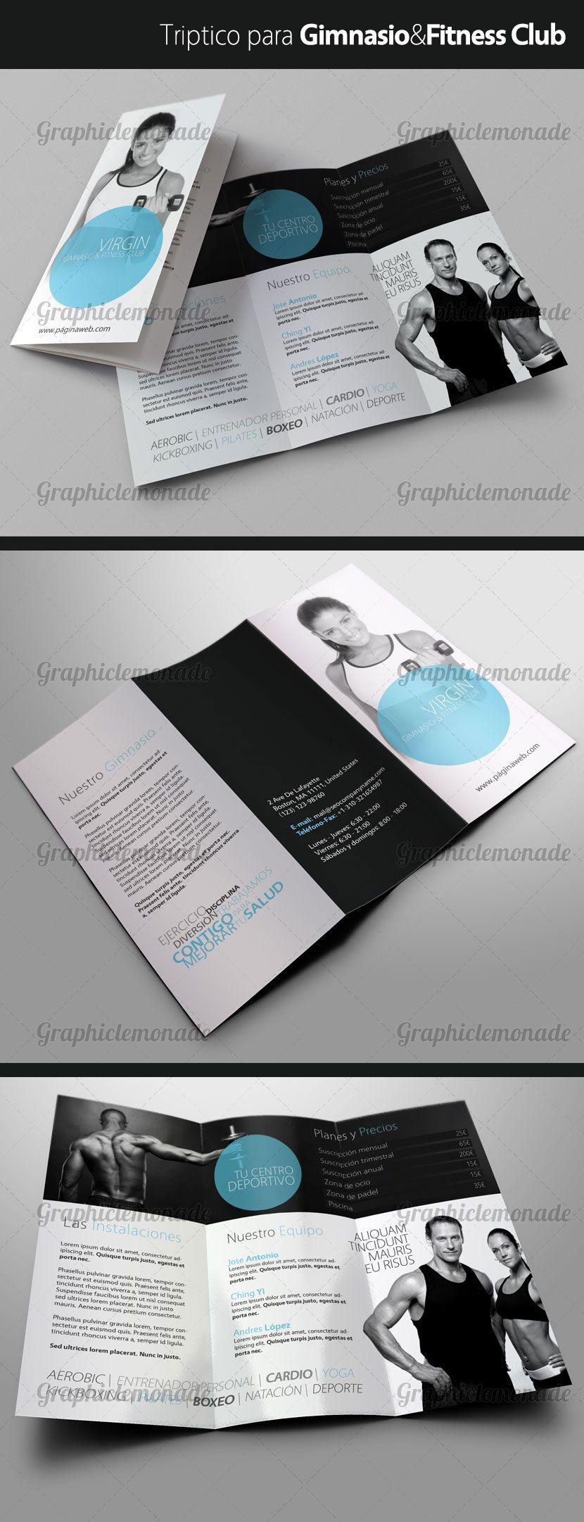 Tr ptico para gimnasio tripticos dipticos pinterest for Posters para gimnasios
