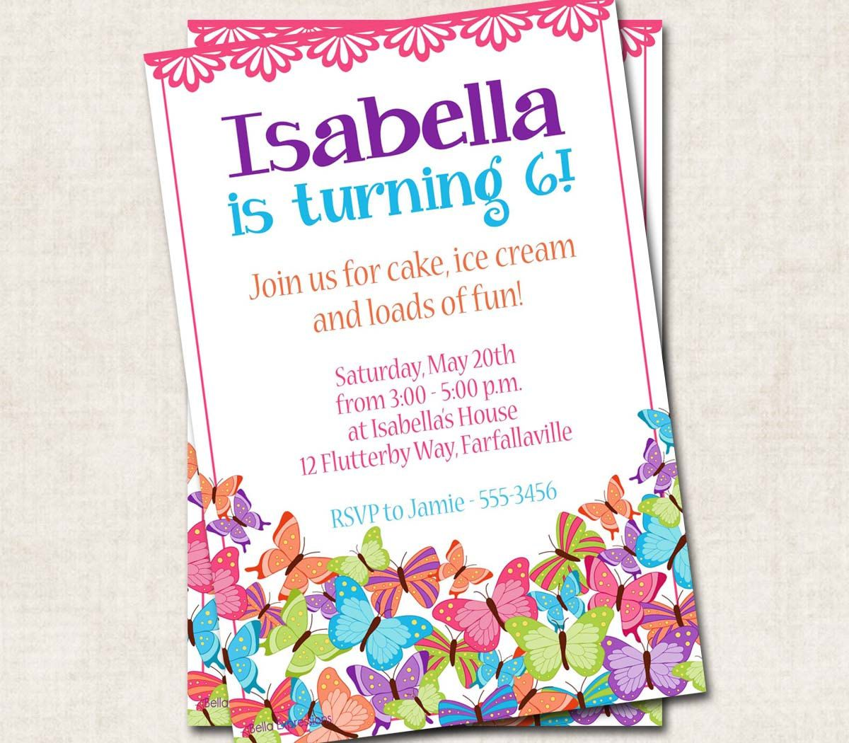 Butterflies Birthday Party Invitation by missbellaexpressions ...