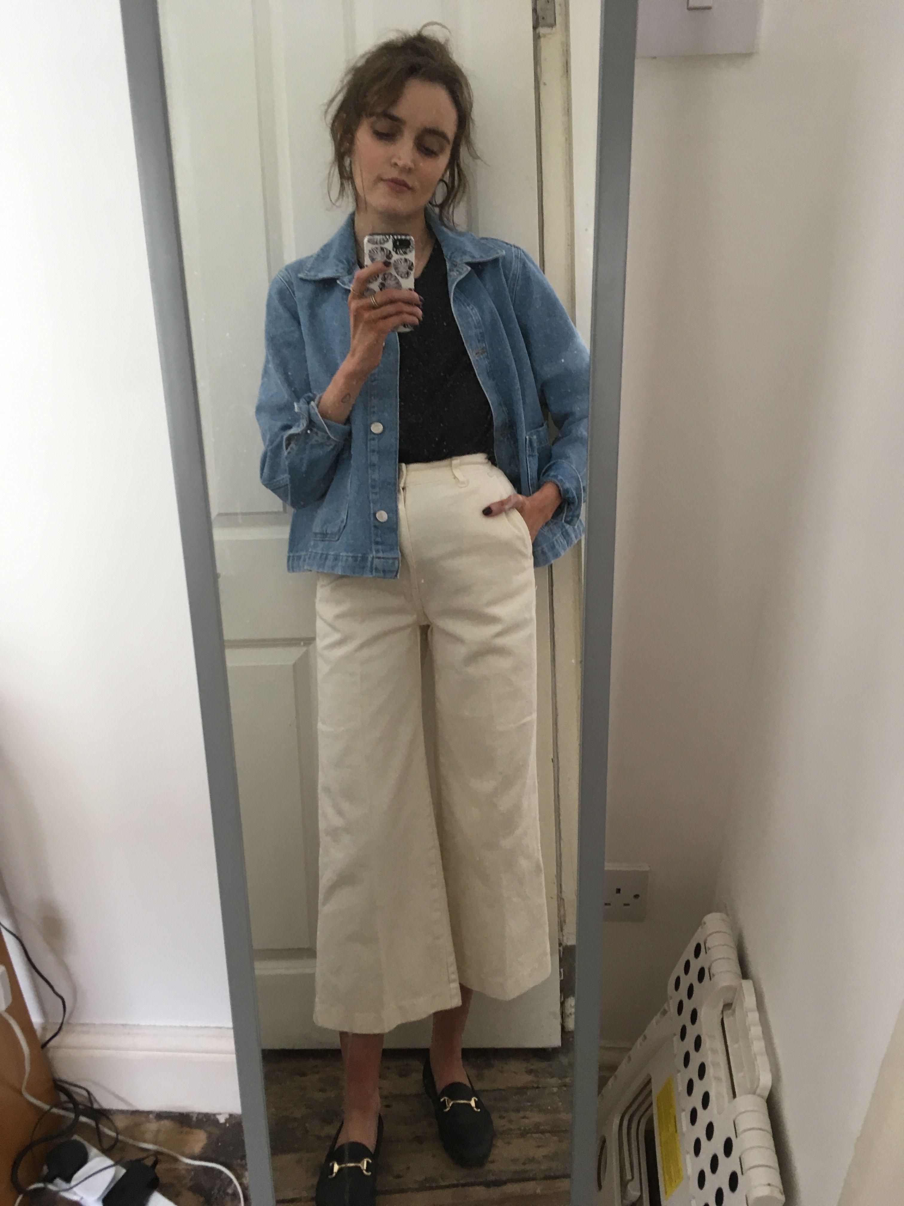 9399aefcc4d6 White wide legged cropped jeans  whatjosiedidnext