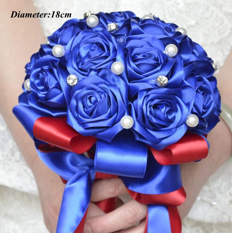 bridal wedding bouquet handmade silk satin Rose flower European Royal blue bride bouquet bridesmaid Wedding Bouquet de mariage