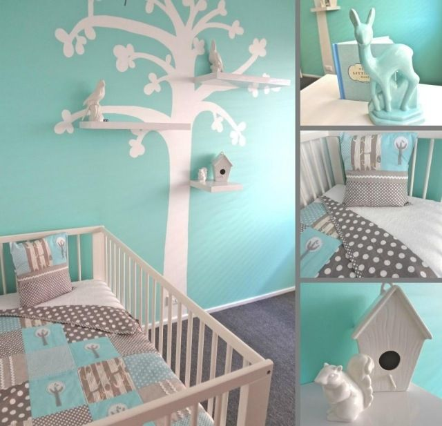 babyzimmer gestalten aqua blau grau wandgestaltung baum schablone regale kinderzimmer. Black Bedroom Furniture Sets. Home Design Ideas