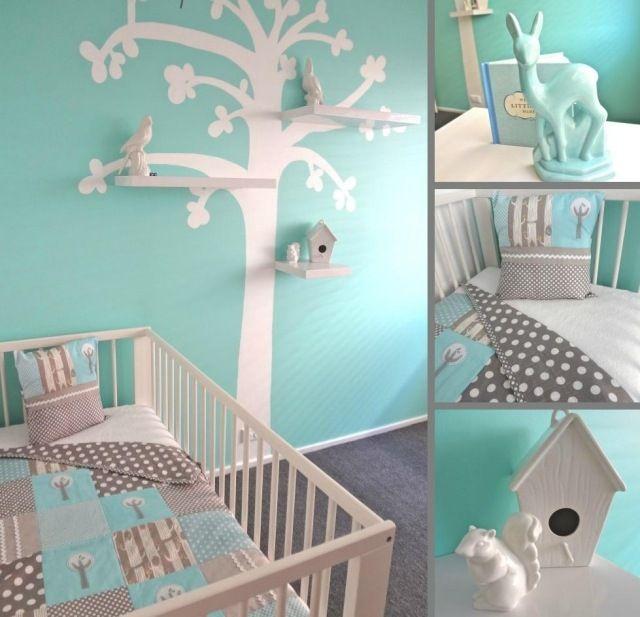 Babyzimmer Gestalten Aqua Blau Grau Wandgestaltung Baum Schablone Regale