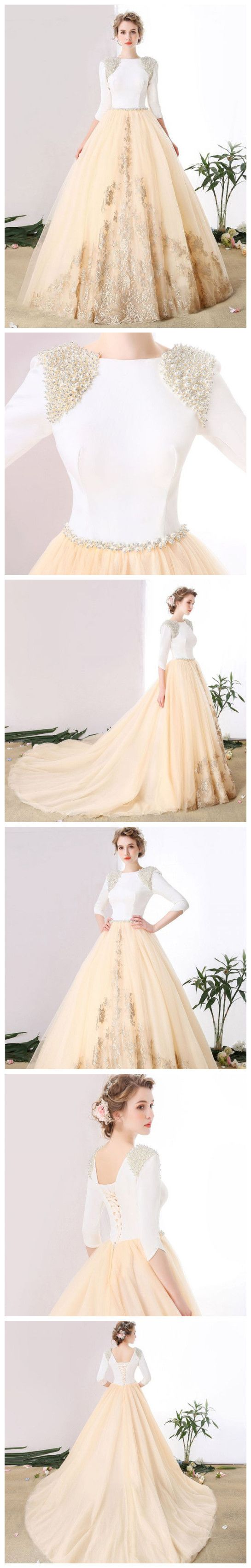 Chic aline bateau tulle sleeve beading modest prom dress