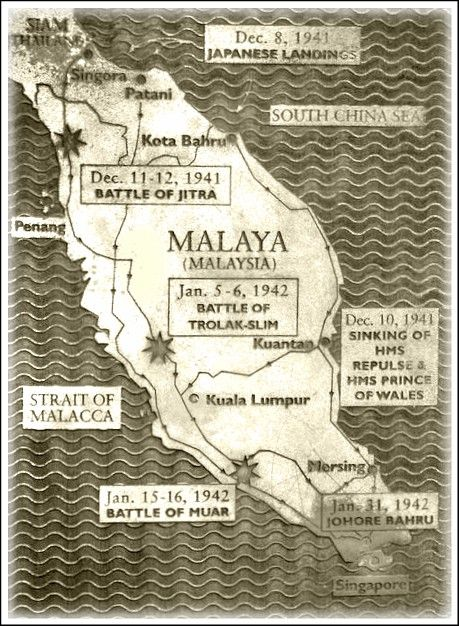 Old map showing japanese invasion the date and battles for malaya old map showing japanese invasion the date and battles for malaya gumiabroncs Choice Image