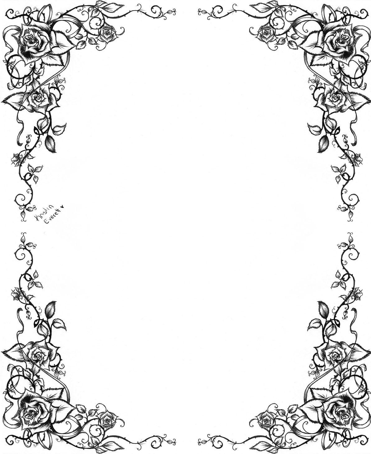 Another Rose Border By Dreamangelkristi On Deviantart Calligraphy Borders Clip Art Borders Borders And Frames