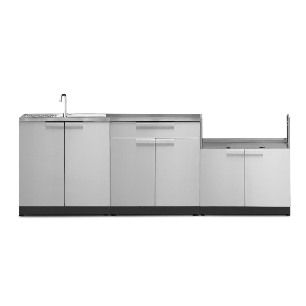 Newage Products Stainless Steel Classic 4 Piece 97x36x24 In Outdoor Kitchen Cabinet Set With Covers Outdoor Kitchen Cabinets Outdoor Kitchen Sink Stainless Steel Kitchen Cabinets