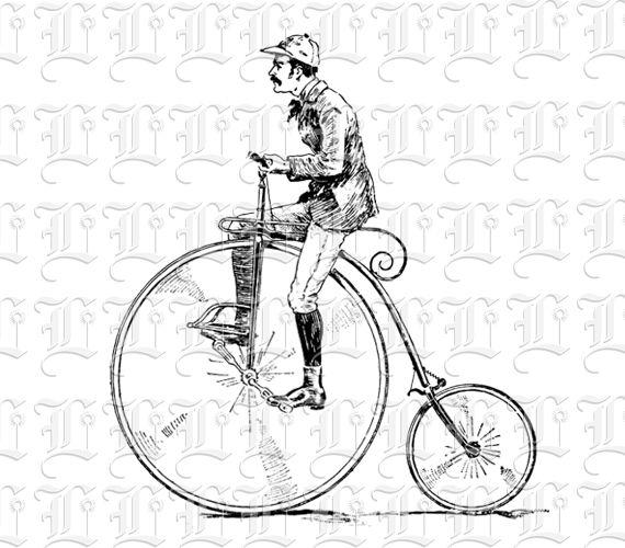 19th Century Gentlemen On Antique Bicycle Vintage Clip Art Illustration High Resolution 300 Dpi Clip Art Vintage Retro Bike Illustration Bicycle Drawing