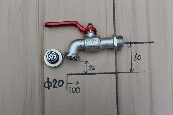 イタリア製 蛇口 氷点下20度まで耐えられる雨水利用向け。取り付けネジ20A