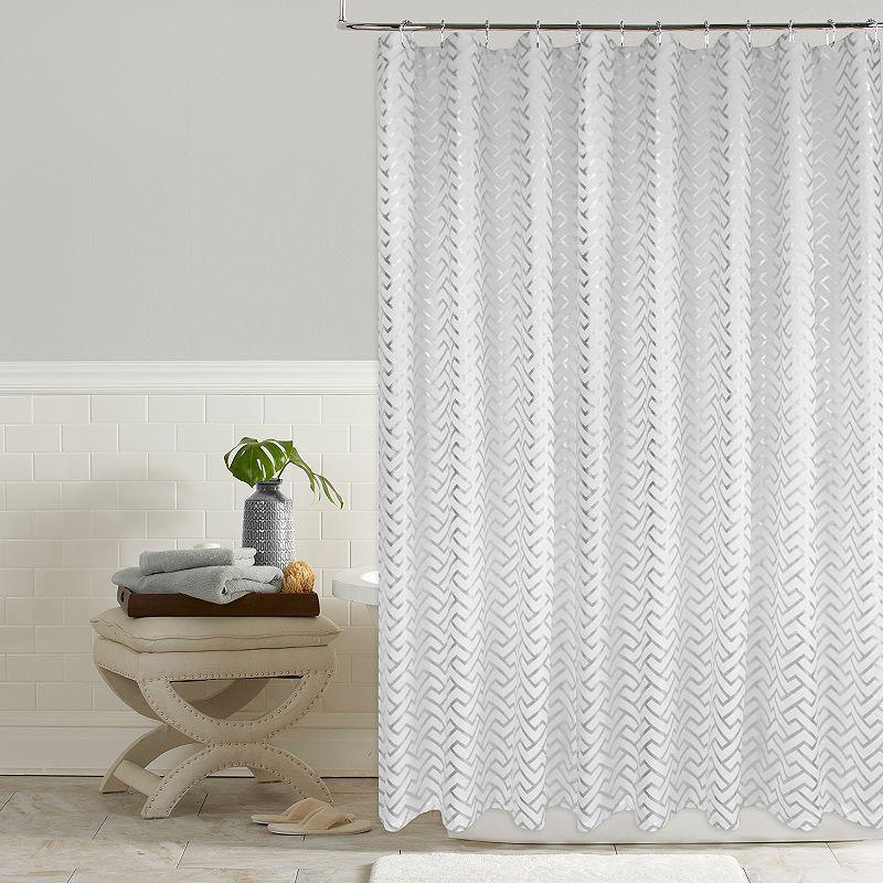 Colordrift Troy Metallic Greek Key Shower Curtain White Shower
