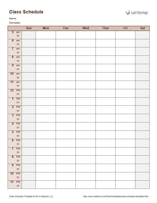 semester class schedule template