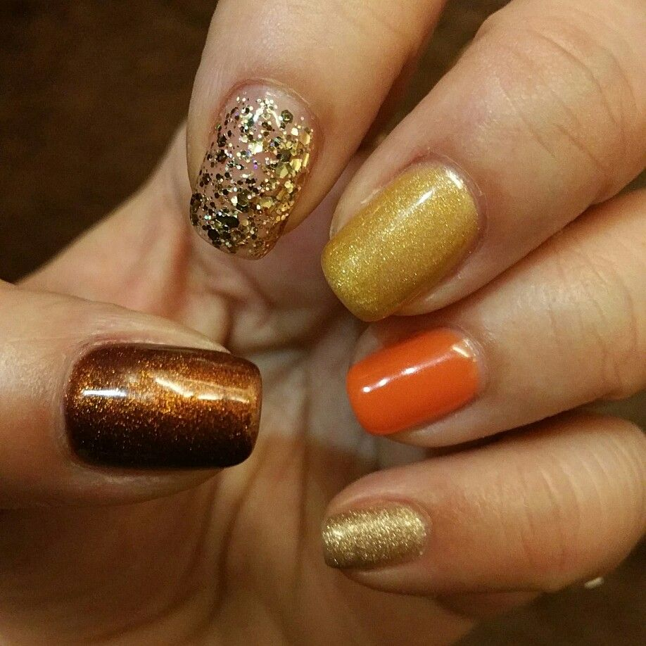 Shades of gold with orange to brighten it up.