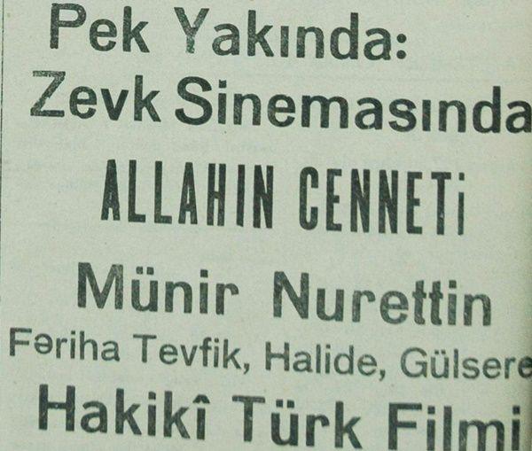Allahin Cenneti 1939 Yonetmen Muhsin Ertugrul Hakiki Turk Filmi Diye Klasik Reklamlar Eski Film Afisleri Film Afisleri