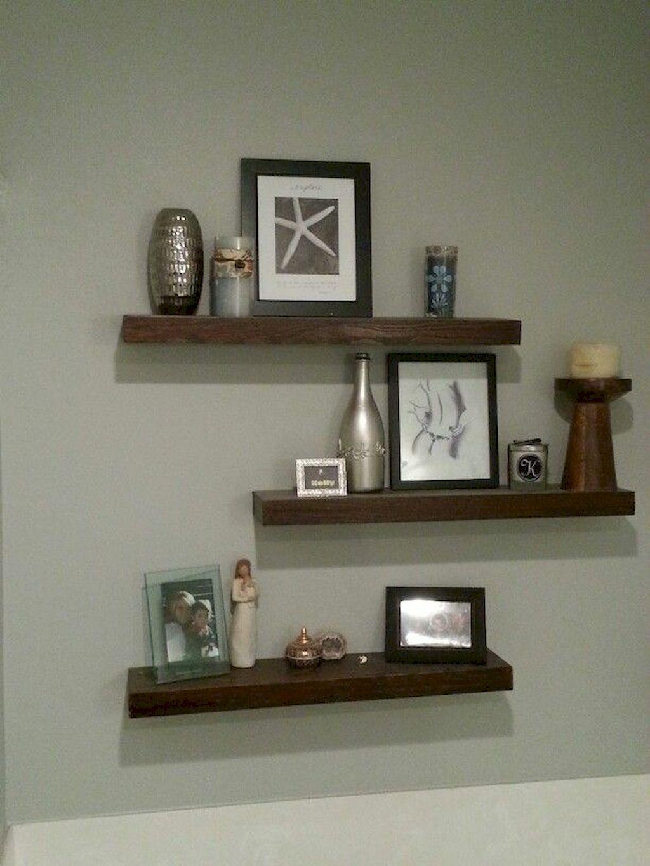 80 Diy Floating Shelves For Living Room Decorating Ideas Floating Shelves Bedroom Floating Shelves Diy Rustic Floating Shelves