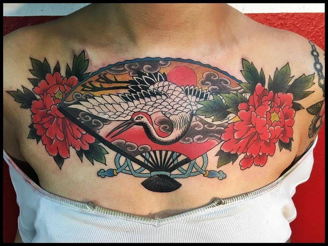 Japanese Fan Chestpiece Cover Up Tattoo By Jason Vaughn Tattoos Who Is Currently On The Road Jason Will Be In Berlin Verona Milan Marseille And Sete I đại Bang