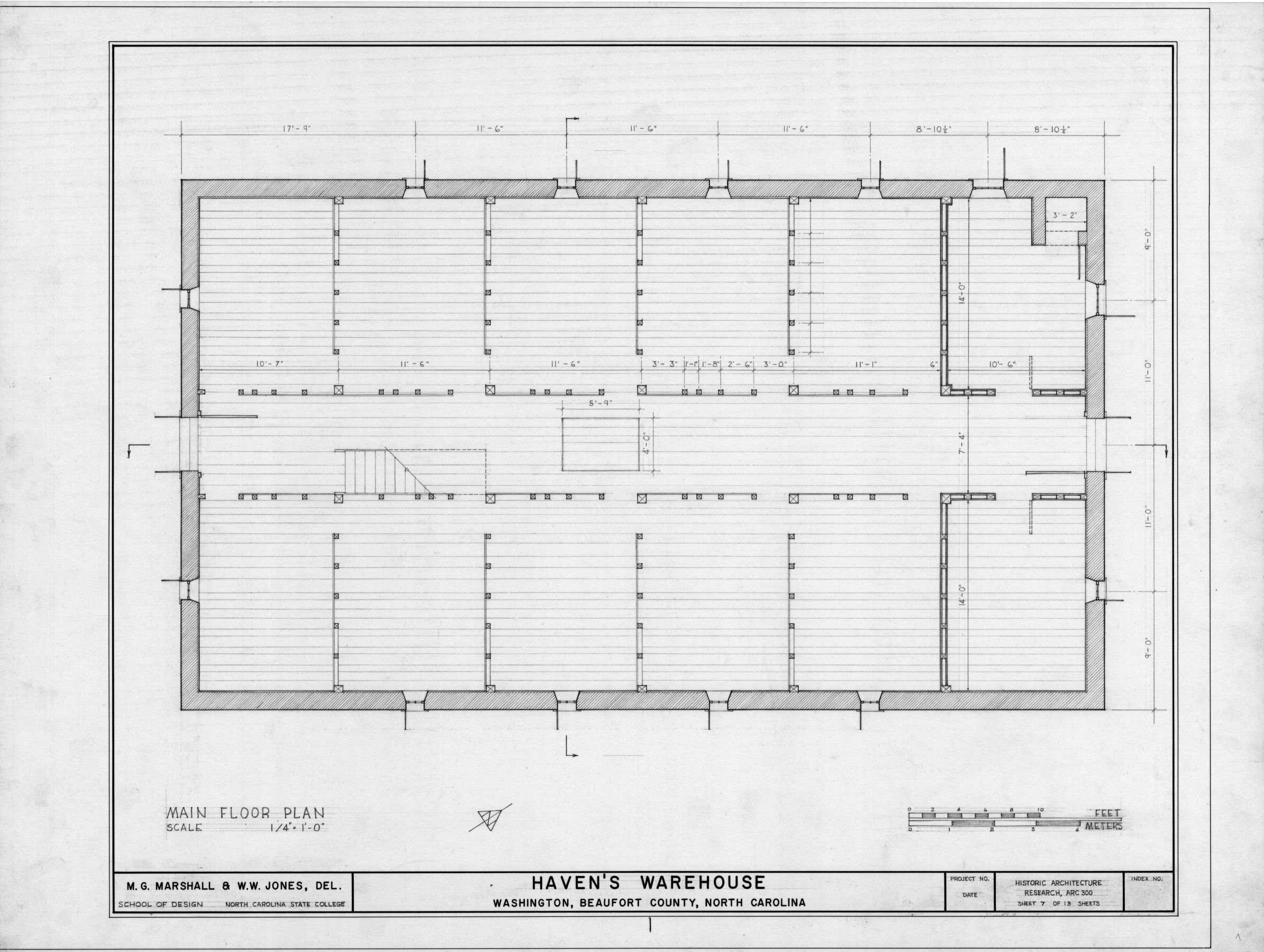 Warehouse floor plans with the maintenance shop office in the center of the building