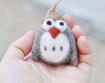 Needle felted owl ornament, gray owl figurine, miniature owl, amigurumi owl, needle felted animal, animal ornament, Christmas ornament