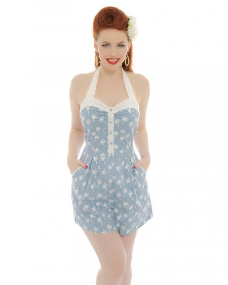 ea372228d2a Vintage Rompers and Retro Playsuits Palmer Blue Palm Tree Print Playsuit  £27.00 AT vintagedancer.com