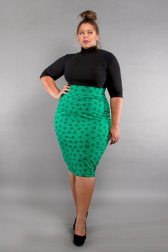 8353232082977 JIBRI Plus Size High Waist Pencil Skirt Bows by jibrionline